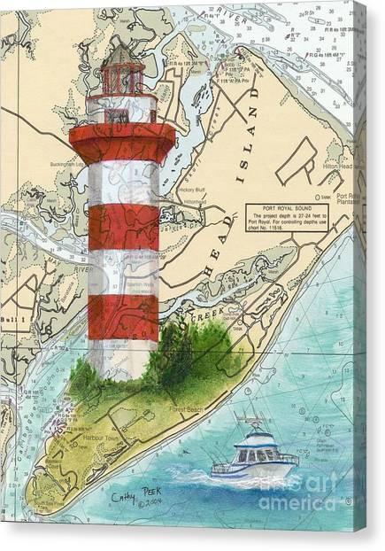 Plantation Canvas Print - Hilton Head Island Lighthouse Sc Nautical Chart Map Art Cathy Peek by Cathy Peek