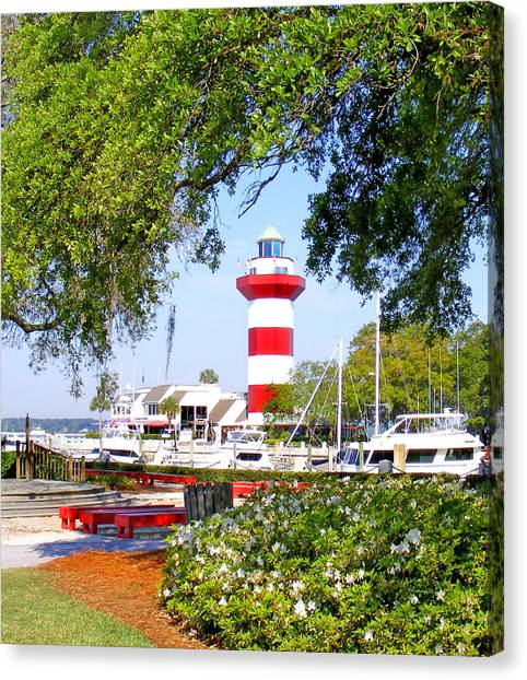 Hilton Head Lighthouse And Marina Canvas Print