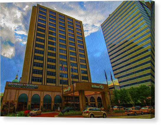 Milwaukee Brewers Canvas Print - Hilton Hotel Indianapolis Indiana Painted Digitally by David Haskett II