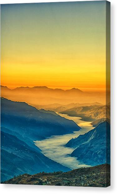 Mount Everest Canvas Print - Himalaya In The Morning Light by U Schade