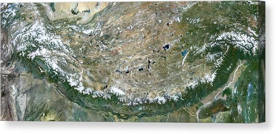 Mount Everest Canvas Print - Himalaya Mountains Asia True Colour Satellite Image  by Anonymous