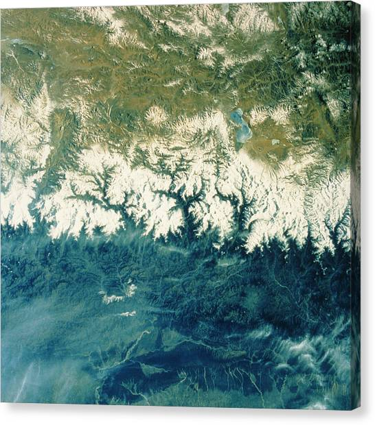 Himalayas Canvas Print - Himalayan Mountains From Space by Nasa/science Photo Library