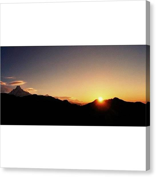 Sunset Horizon Canvas Print - #himalayas #annapurna #sunrise by Raimond Klavins
