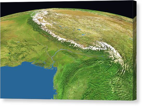 Himalayas Canvas Print - Himalayas by Worldsat International/science Photo Library