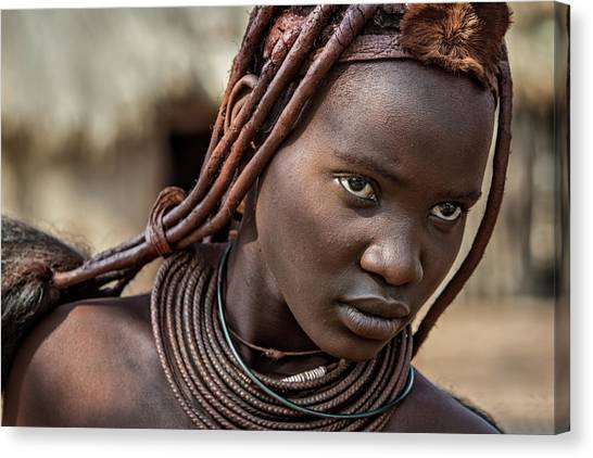 Himba Girl Canvas Print by Piet Flour