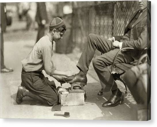 Bowling Shoes Canvas Print - Hine Bootblack, 1924 by Granger