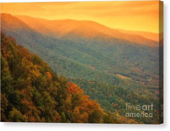 Hint Of Orange On The Blue Ridge Parkway Canvas Print