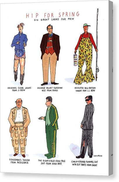 Flannel Canvas Print - Hip For Spring Six Great Looks For Men by Michael Crawford