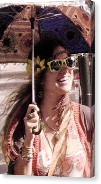 Hippie Chick Canvas Print by Sharon Costa