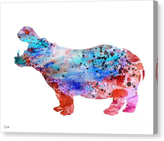 Hippos Canvas Print - Hippo 3 by Watercolor Girl