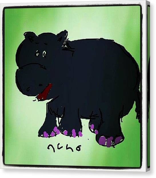 Hippos Canvas Print - #hippo #cartoon #colors #sketch #paint by Nuno Marques
