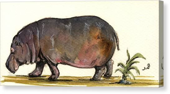 Hippos Canvas Print - Hippo by Juan  Bosco