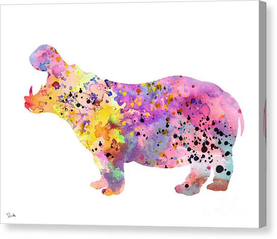 Hippos Canvas Print - Hippo  by Watercolor Girl