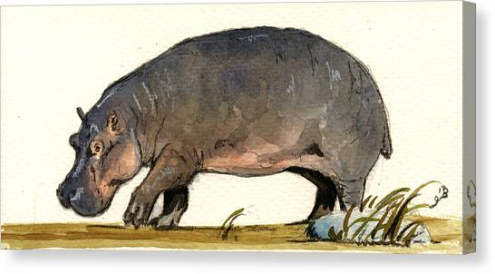 Hippos Canvas Print - Hippo Walk by Juan  Bosco