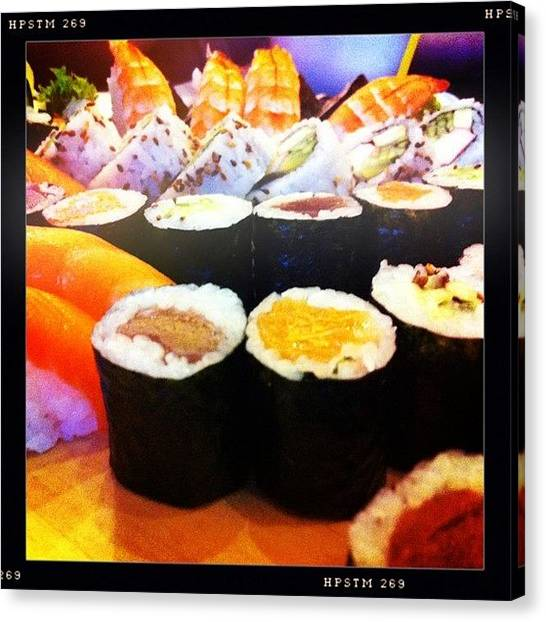 Salmon Canvas Print - Sushi by Bartosz Topolski