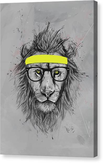 Humor Canvas Print - Hipster Lion by Balazs Solti
