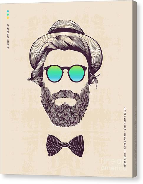 Hipster With Hat And Jazz-bow Canvas Print by Blau Ananas