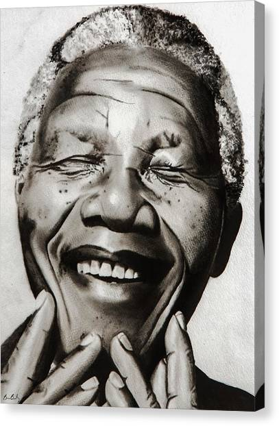 Om Canvas Print - His Excellency Nelson Mandela by Brian Broadway