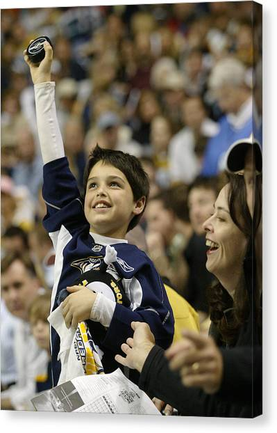 Nashville Predators Canvas Print - His First Puck by Don Olea