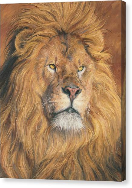 Lions Canvas Print - His Majesty - Detail by Lucie Bilodeau