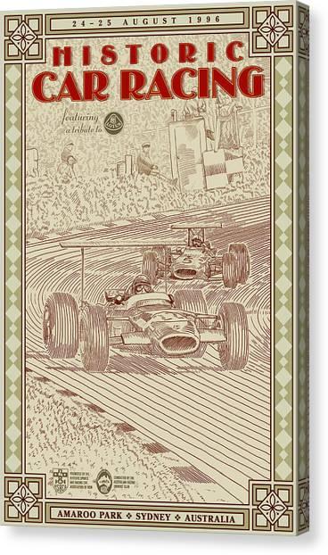Classic Car Drawings Canvas Print - Historic Car Racing by Georgia Fowler