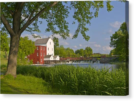 Historic Flour Mill By A River Canvas Print