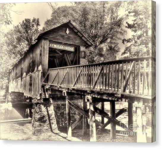 Historic Kymulga Covered Bridge Toned Canvas Print