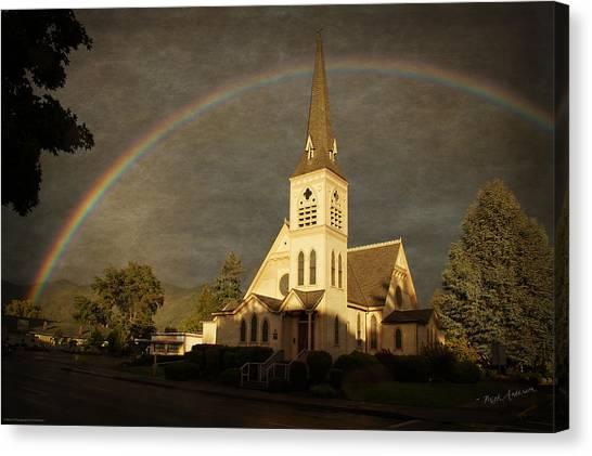 Historic Methodist Church In Rainbow Light Canvas Print