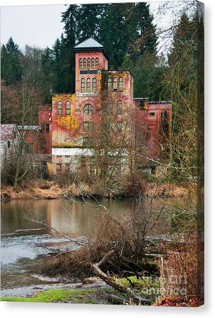 Historic Old Brewery By Creek Canvas Print