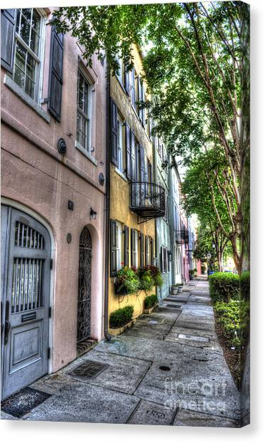 Historic Rainbow Row Canvas Print