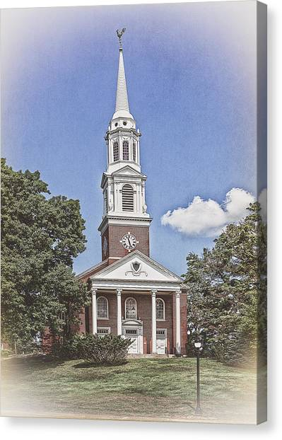 University Of Connecticut Canvas Print - Historic Storrs Congregational Church by Steve Pfaffle