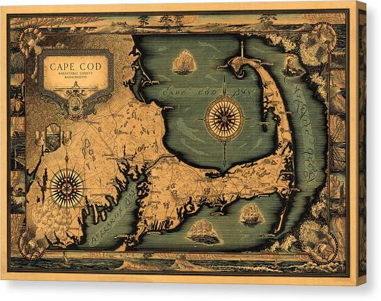 Historical Map Of Cape Cod Canvas Print