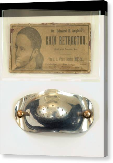 Chin Canvas Print - Historical Orthodontic Chin Retractor by Mark Thomas/science Photo Library