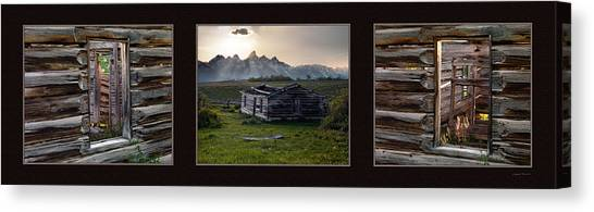 Log Cabin Canvas Print - Historical Taylor Cabin Triptych by Leland D Howard