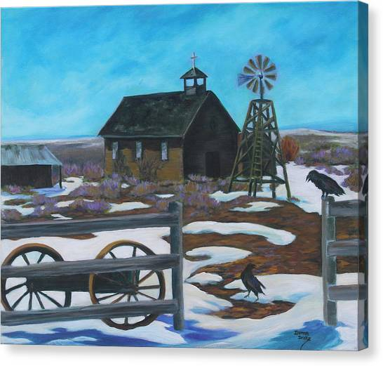 Church Yard Canvas Print - History In The High Desert by Donna Drake