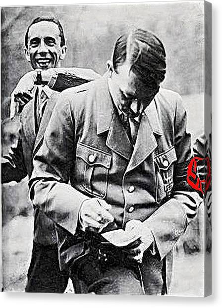 Hitler And Goebbels  As The German Chancellor Signs An Autograph  Canvas Print