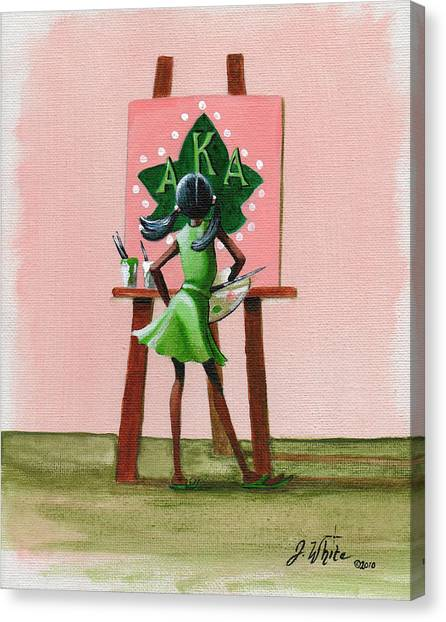 Alpha Kappa Alpha Canvas Print - Hmmm  A Little More Pink by Jerome White
