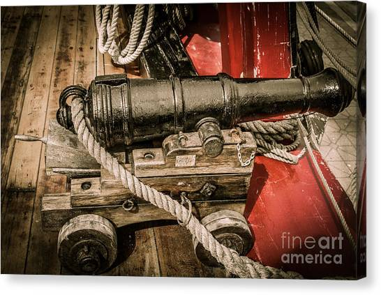 Hms Bounty Gibson Cannon II Canvas Print