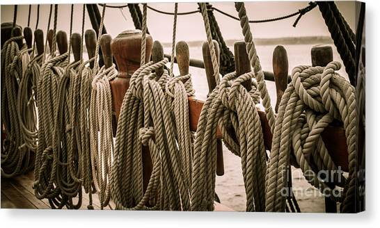 Hms Bounty Riggins And Ropes Canvas Print