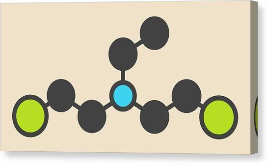 Mustard Canvas Print - Hn1 Nitrogen Mustard Molecule by Molekuul