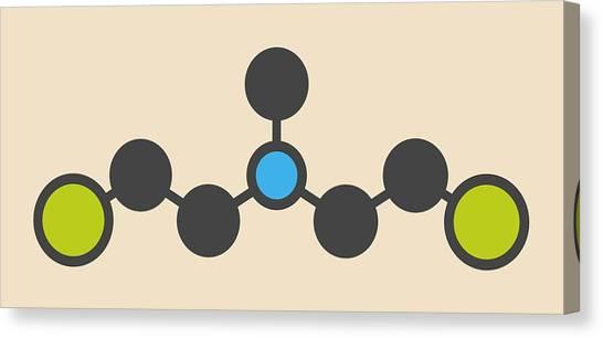 Mustard Canvas Print - Hn2 Nitrogen Mustard Molecule by Molekuul
