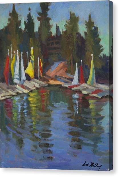 Catamarans Canvas Print - Hobie Cats At Lake Arrowhead by Diane McClary