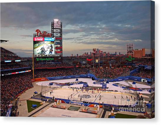 Philadelphia Phillies Canvas Print - Hockey At The Ballpark by David Rucker