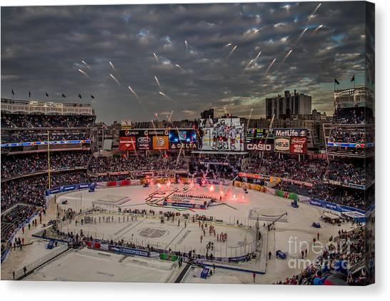 Hockey Canvas Print - Hockey At Yankee Stadium by David Rucker