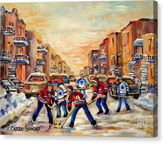 Afterschool Hockey Montreal Canvas Print - Hockey Daze by Carole Spandau