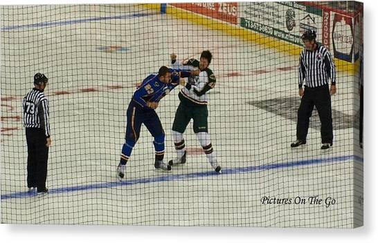 Minnesota Wild Canvas Print - Hockey Fight by Max M Power