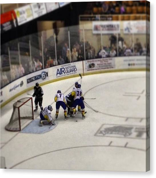 Hockey Players Canvas Print - #hockey #ice #game #fridaynight #fight by S Smithee