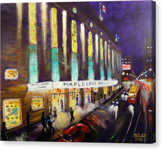 Street Hockey Canvas Print - Hockey Night- Maple Leaf Gardens by Brent Arlitt