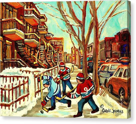 Streethockey Canvas Print - Hockey Paintings Verdun Streets And Staircases  Winter Scenes Montreal City Scene Specialist   by Carole Spandau