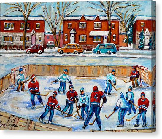 Hockey Rink At Van Horne Montreal Canvas Print